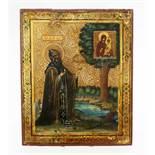 Russische Ikone 19. Jahrhundert Eitempera auf Kreidegrund und Goldmalerei, rs. 2 Sponkis.