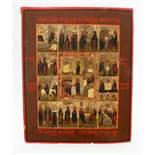 Große russische Vielfelder-Ikone - 19. Jahrhundert Eitempera auf Kreidegrund, Goldmalerei. 13 Felder