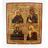 """Russische Ikone - 19. Jahrhundert Eitempera auf Kreidegrund, Goldmalerei. 4 Felder mit Szenen """""""