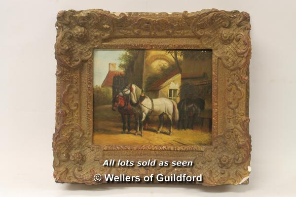 Lot 7298 - Oil on board, carthorses outside a building, signed Ve**eer, 23 x 28cm.