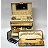 Jewellery box containing costume jewellery, including brooches, imitation pearls, marcasite necklace