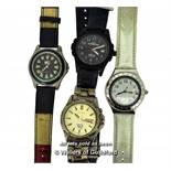 Four gentlemen's wristwatches, including a Swatch, Timex, Seiko and Tommy Hilfiger