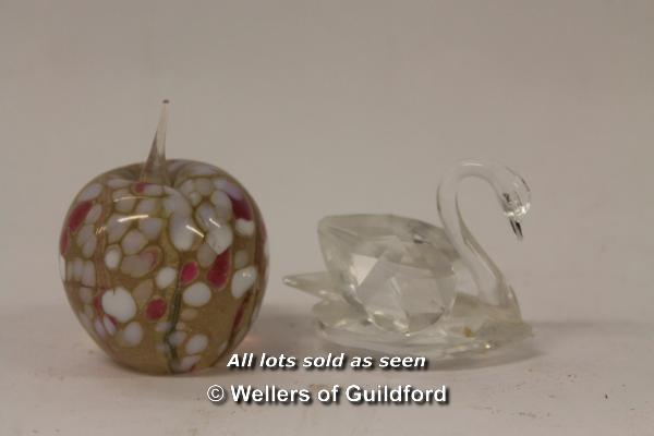 Lot 7306 - Caithness Pebble paperweight; Swarovski faceted paperweight; Swarovski swan; Isle of Wight glass