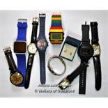 Selection of nine mixed wristwatches, and a pair of silver horse design ear studs