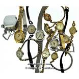 Selection of twelve ladies' vintage wristwatches, including Bulova, Rotary, Timex, together with a
