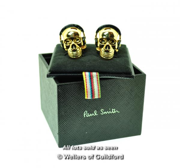 Pair of Paul Smith skull design cufflinks, boxed