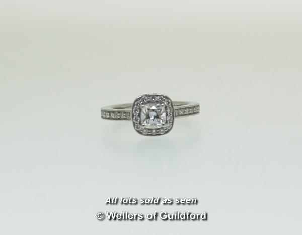 Lot 7015 - Platinum cushion cut diamond cluster ring, central cushion cut diamond with GIA Certificate