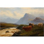 Lot 513 - JOHN DAVISON LIDDELL (1859-1942), CATTLE BY A HIGHLAND STREAM, signed lower right, oil on board,