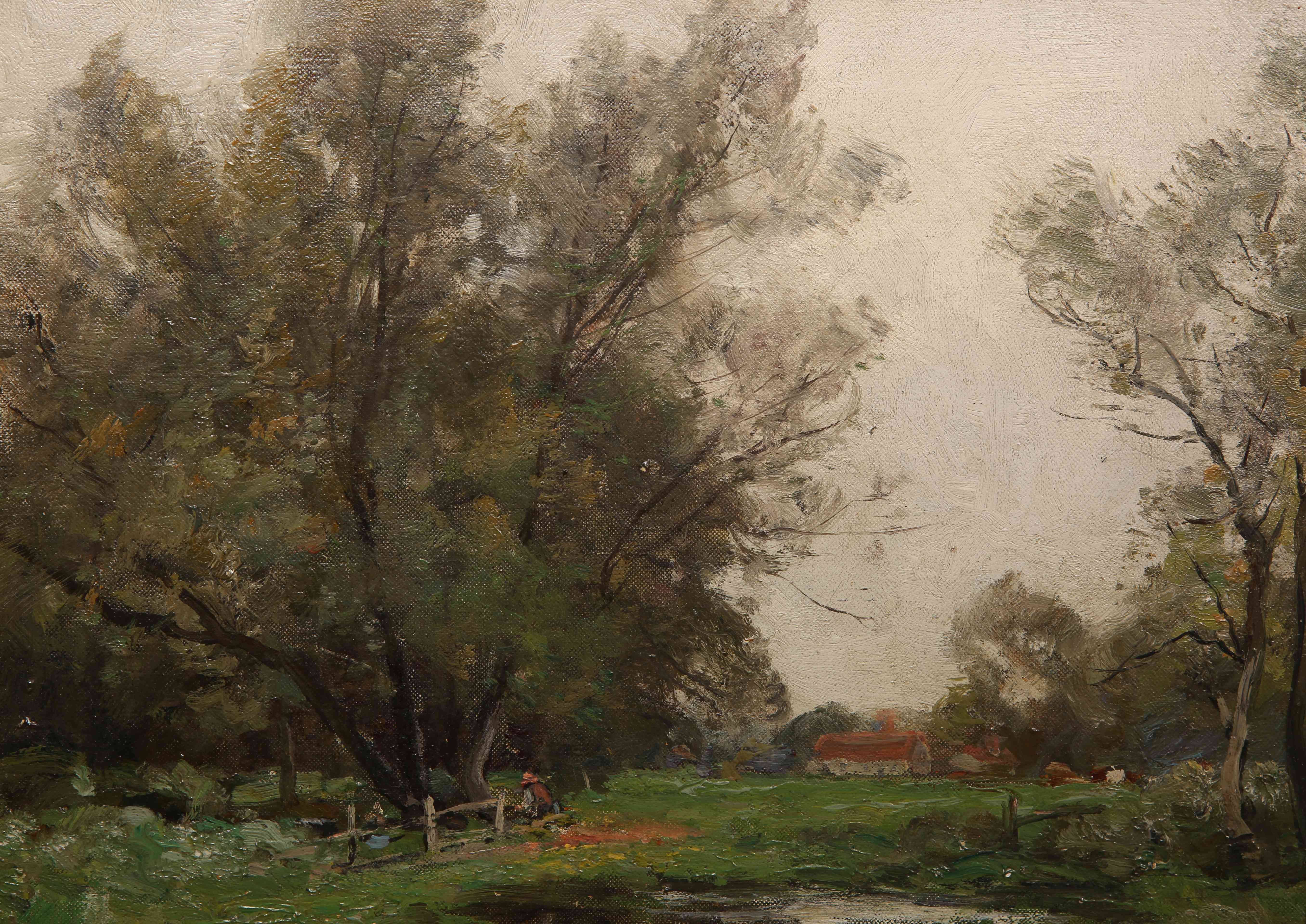 Lot 512 - JOHN NOBLE BARLOW (1861-1917), SHERE, SURREY, signed lower right, inscribed verso, oil on canvas,