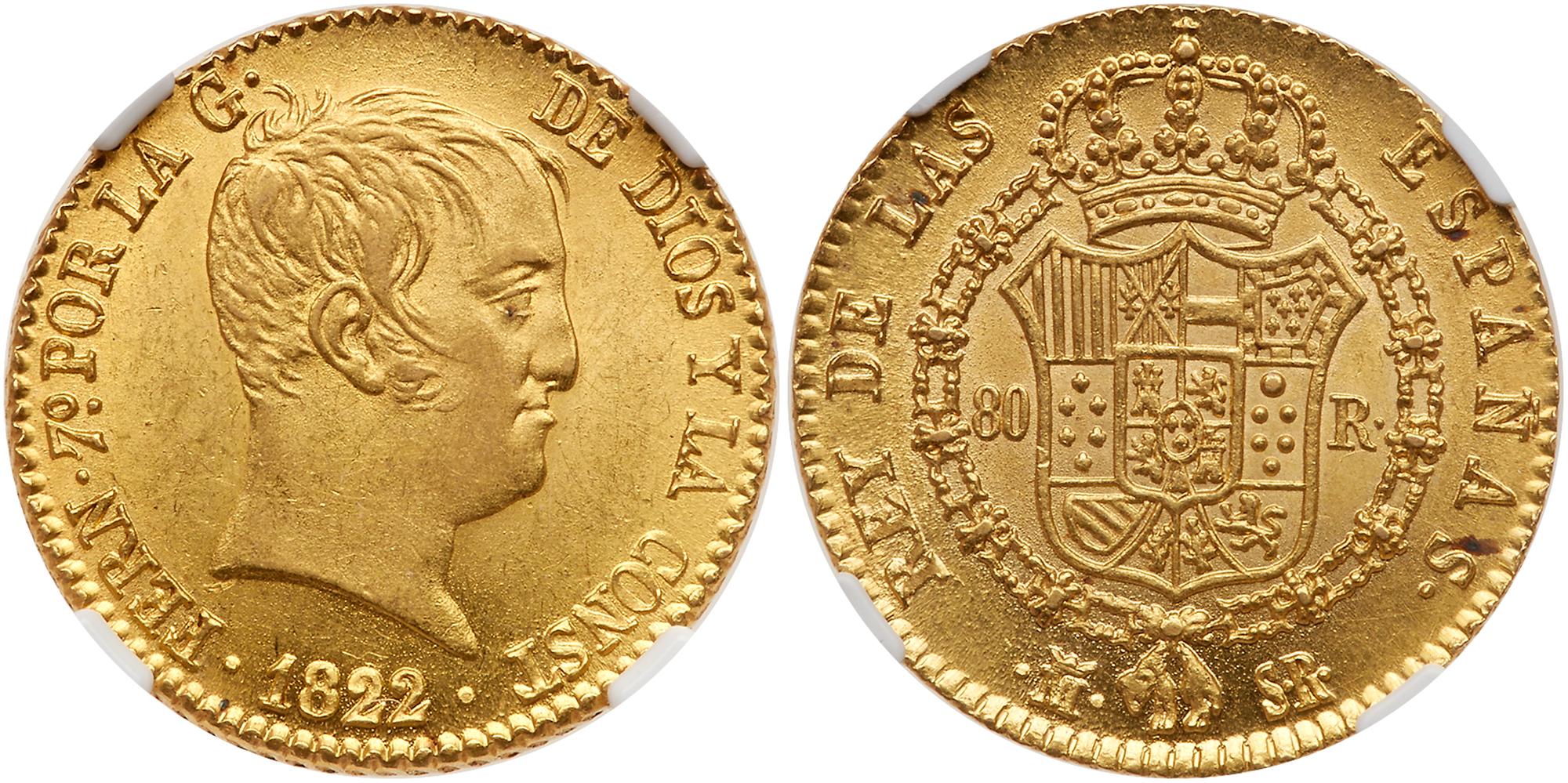 Lot 1895 - Spain. 80 Reales, 1822-SR (Madrid). NGC MS63