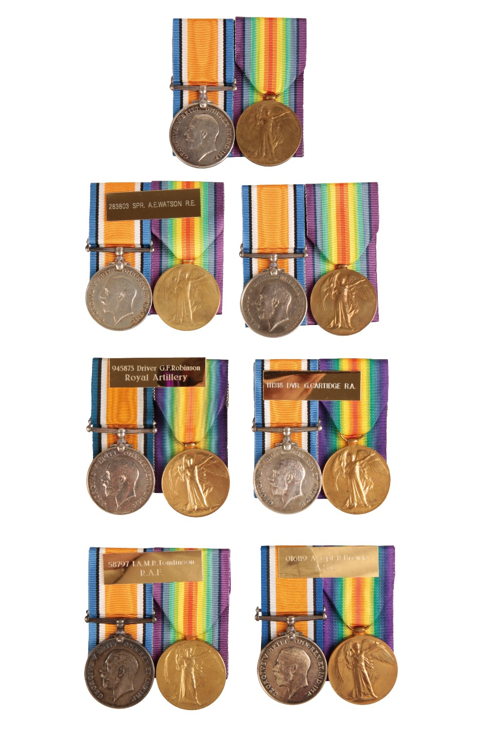 Lot 17 - SEVEN GREAT WAR PAIRS TO CORPS 283803 SPR A E WATSON RE