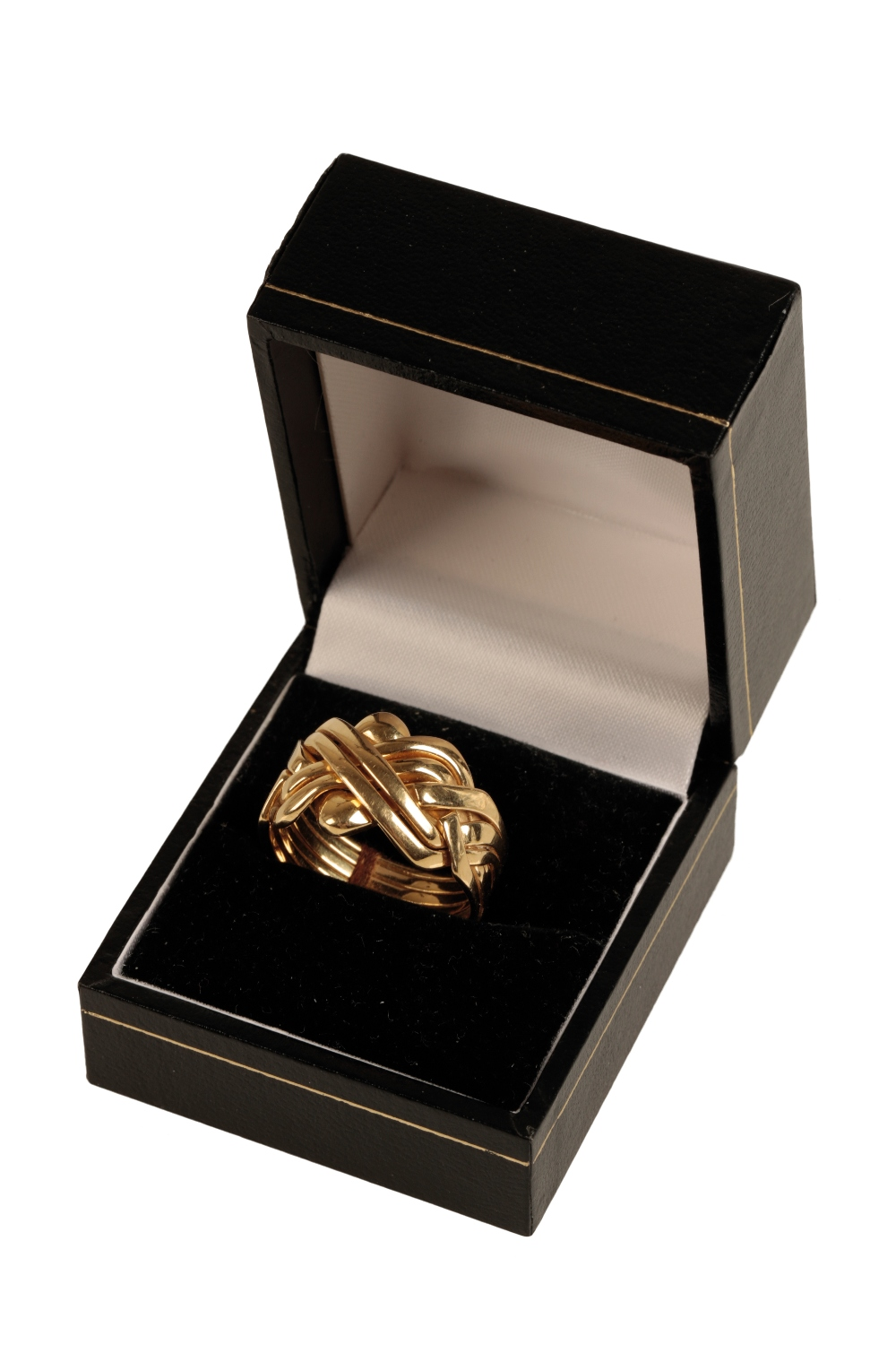 Lot 234 - A SOLID GOLD PUZZLE RING
