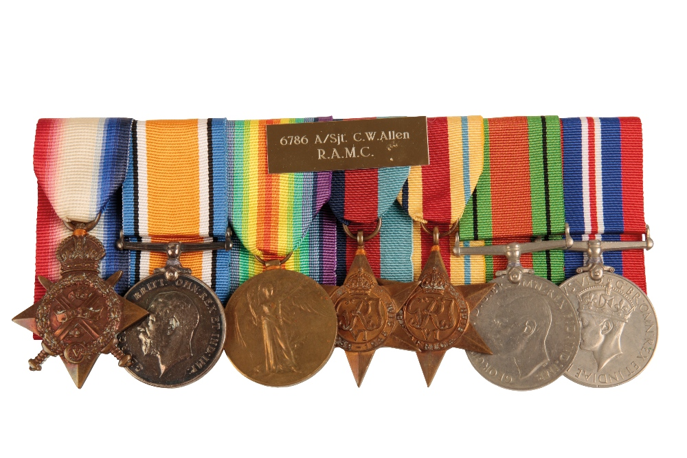 Lot 25 - A 1914 TRIO & WW2 GROUP TO SJT C W ALLEN ROYAL ARMY MEDICAL CORPS