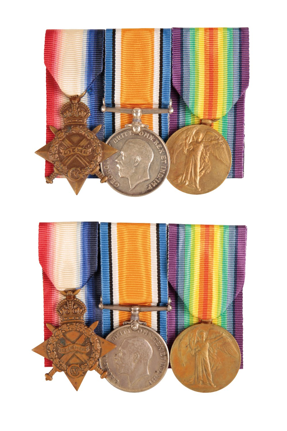 Lot 18 - TWO 1914/15 TRIOS TO BROTHERS, LANCASHIRE FUSILIERS AND SOUTH LANCASHIRE REGIMENT