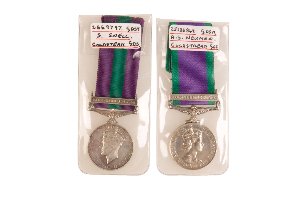Lot 21 - GSM PALESTINE 1945-48 AND CSM NORTHERN IRELAND. BOTH TO MEMBERS OF COLDSTREAM GDS