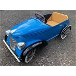 A rare Devillaine vintage pedal car C1930s. Finely detailed metal body measuring 112cm in length.