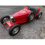 An Ettore Bugatti Type 35 'Baby' Cheers 1980s. Chassis No 004. Electric 13HP motor- go and stop.
