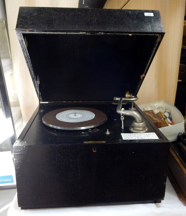 "Lot 370 - E M Ginn ""Expert"" table-top gramophone in ebonised oak case, maker's label marked '64 Frith"