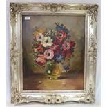 Gemälde ÖL/Hartfaser 'Blumenstillleben in Vase', signiert Alfred Leinung, München, gerahmt, incl.