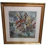Lithographie 'Strauss am Fenster', nach Marc Chagall, mit Passepartout unter Glas gerahmt, Rahmen