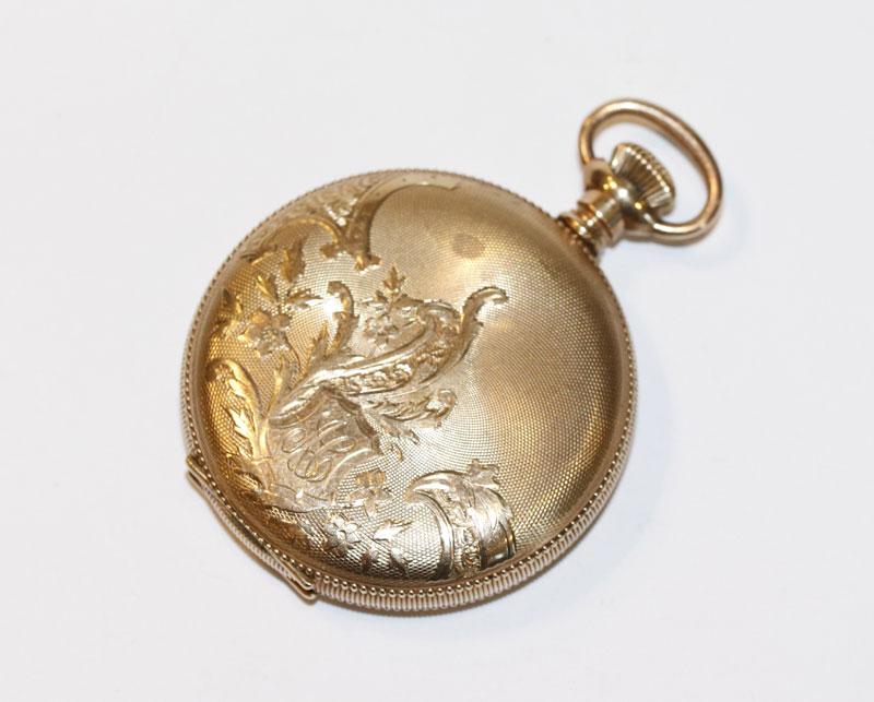Elgin USA, Sprungdeckel Taschenuhr, vergoldet mit graviertem Gehäuse, schönes Werk, Uhrenglas fehlt,