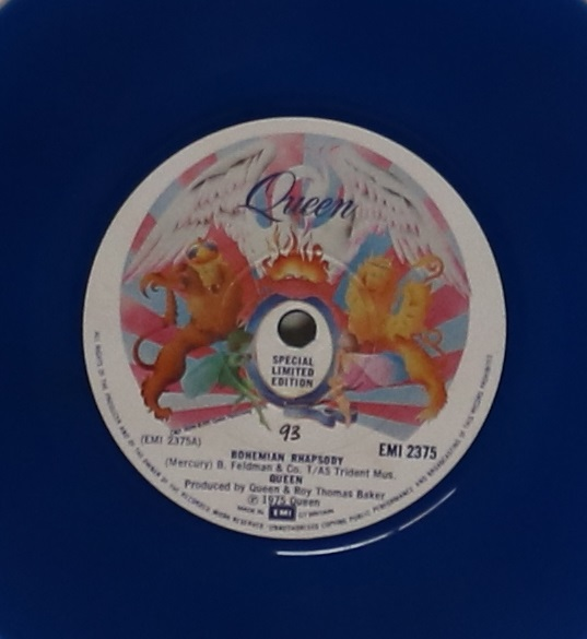 """Lot 54 - QUEEN - BOHEMIAN RHAPSODY - BLUE 7"""" - Extremely limited edition blue vinyl copy from 1978,"""