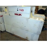 SET OF UTILITY TRUCK TYPE TOOL BOXES, (2) LARGE CABINET STYLE, (1) DELTA TOP OPENING TOOLBOX (