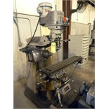 """VERTICAL TURRET MILL, BRIDGEPORT, 9"""" x 48"""" table, 2 HP, pwr. Long. Table feed, 240-4200 RPM,"""
