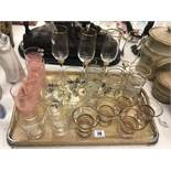 A qty of assorted glassware on tray