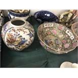 A large Satsuma bowl and a oriental vase
