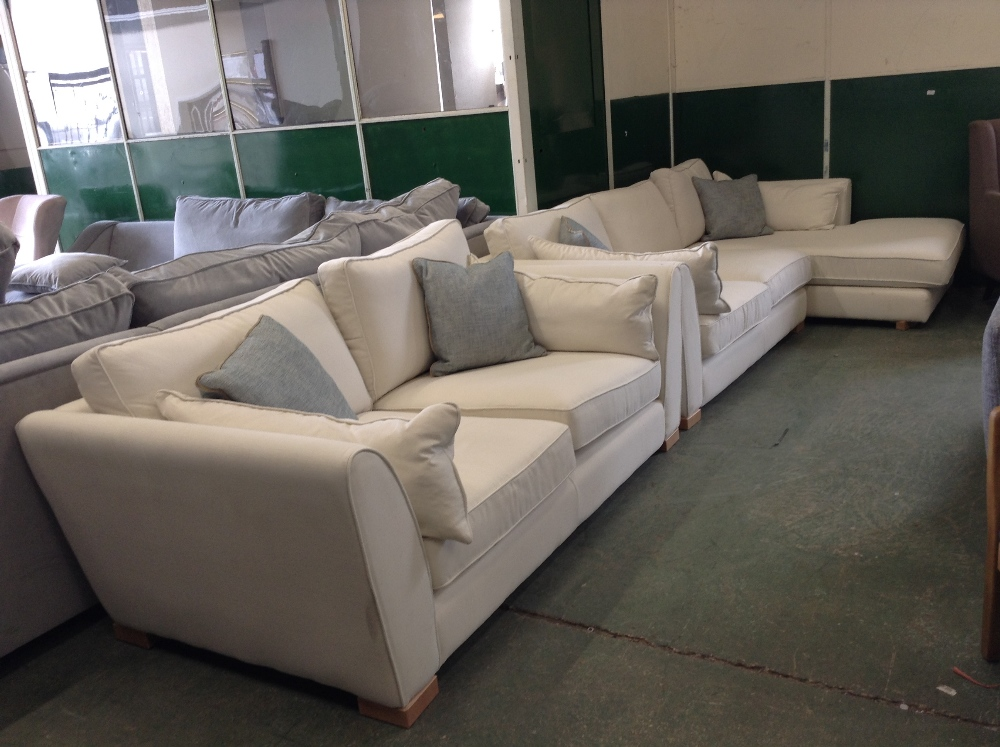 Lot 101 - NATURAL 2 PART CORNER GROUP AND 2 SEATER SOFA