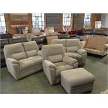 2 X GREY PATTERNED HIGH BACK 2 SEATER SOFAS ELECTR