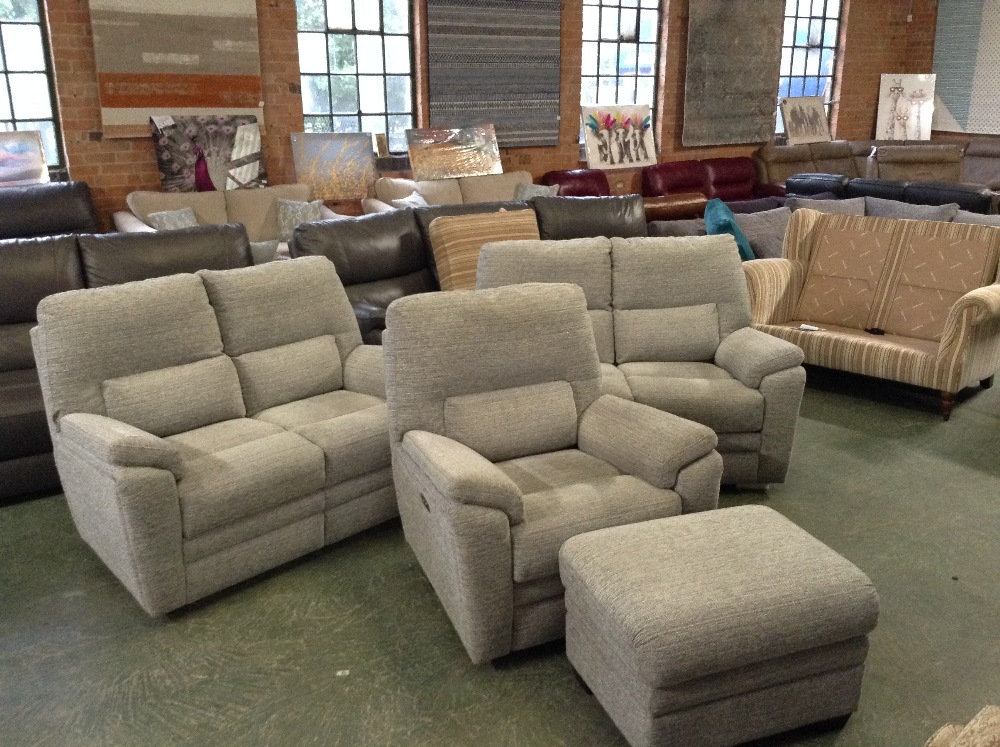 Lot 47 - 2 X GREY PATTERNED HIGH BACK 2 SEATER SOFAS ELECTR