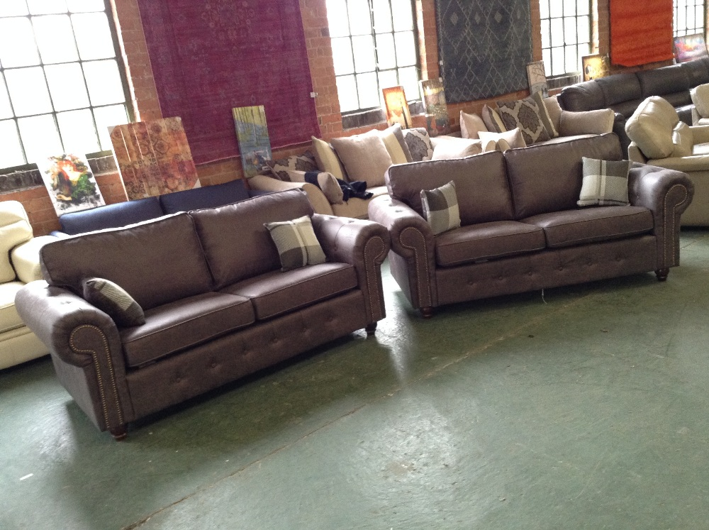 Lot 33 - BROWN CHESTERFIELD 3 SEATER SOFA AND 2 SEATER SOFA