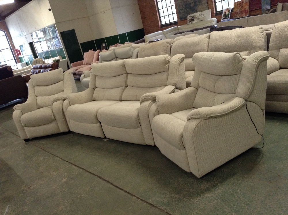 Lot 56 - NATURAL PATTERNED ELECTRIC RECLINING HIGH BACK 3 S