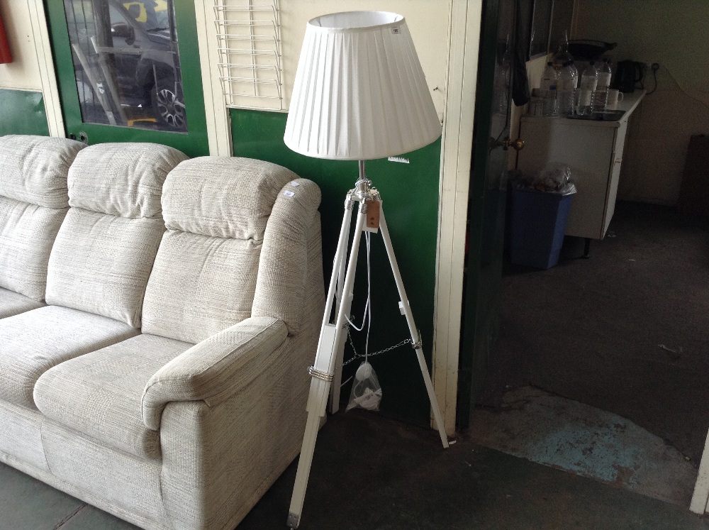 Lot 106 - VILLAGE AND HOME WHITE TRIPOD LAMP (1)