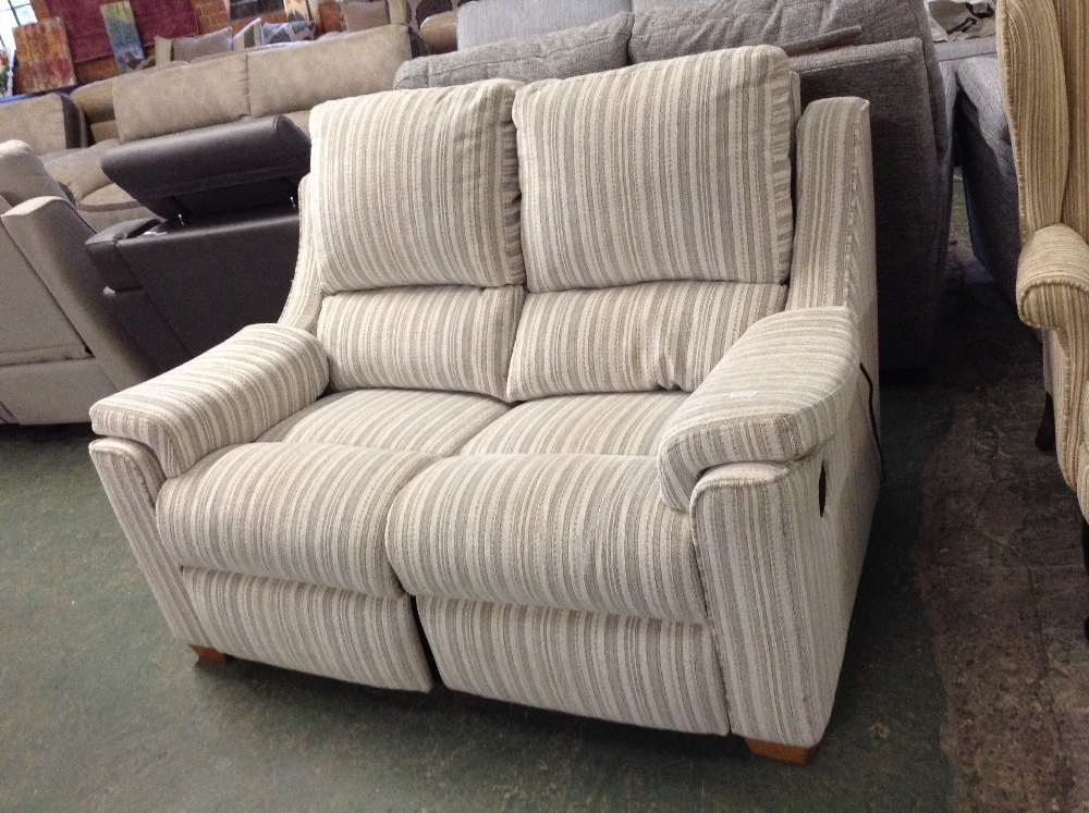 Lot 52 - MULTI COLOURED STRIPED ELECTRIC RECLINING 2 SEATER