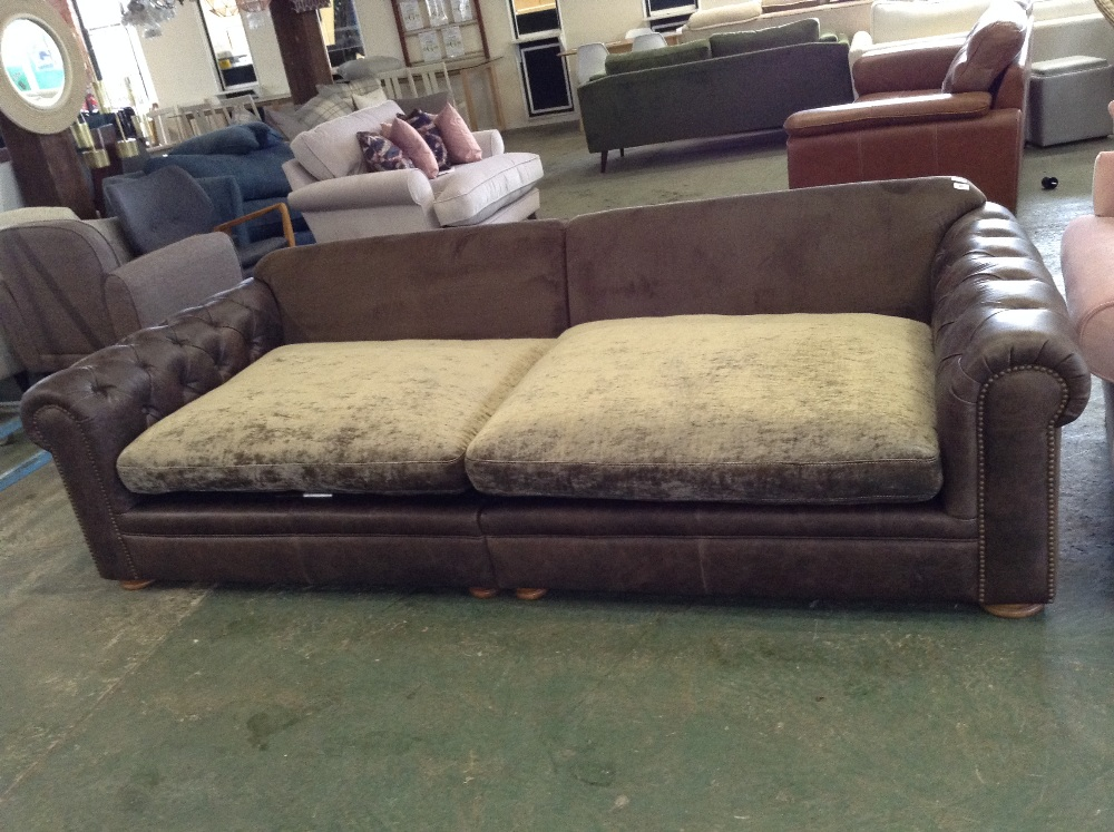 Lot 90 - BROWN HALF HIDE CHESTERFIELD SPLIT 4 SEATER SOFA (