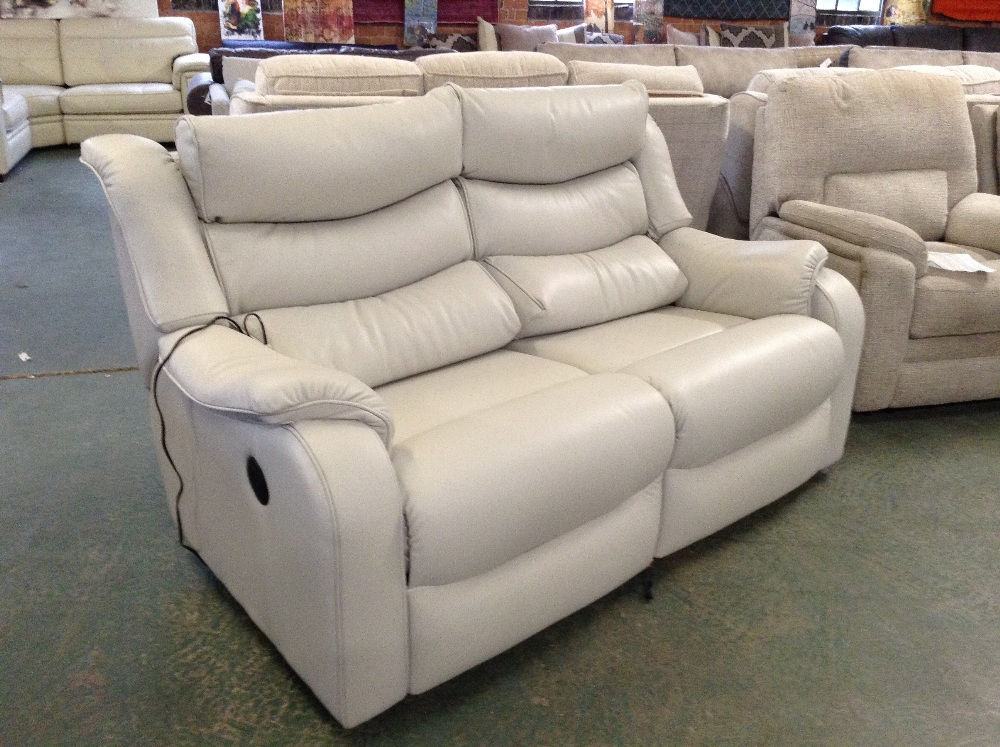 Lot 55 - GREY LEATHER ELECTRIC RECLINING HIGHBACK 2 SEATER