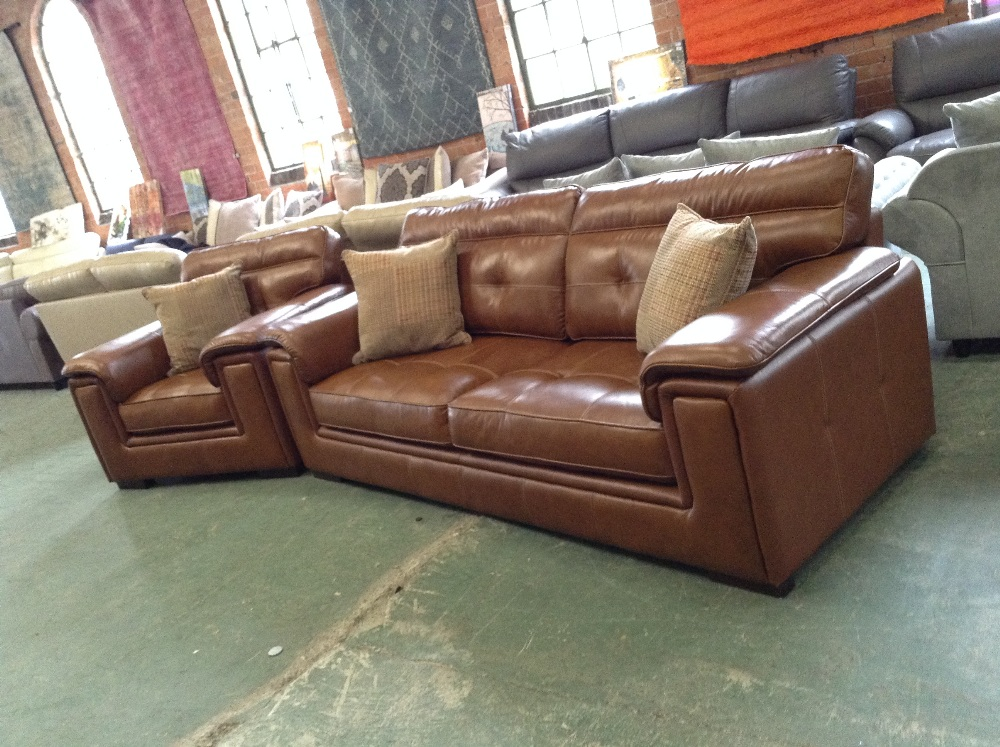 Lot 35 - BROWN LEATHER WITH WHITE STITCHING 3 SEATER SOFA A