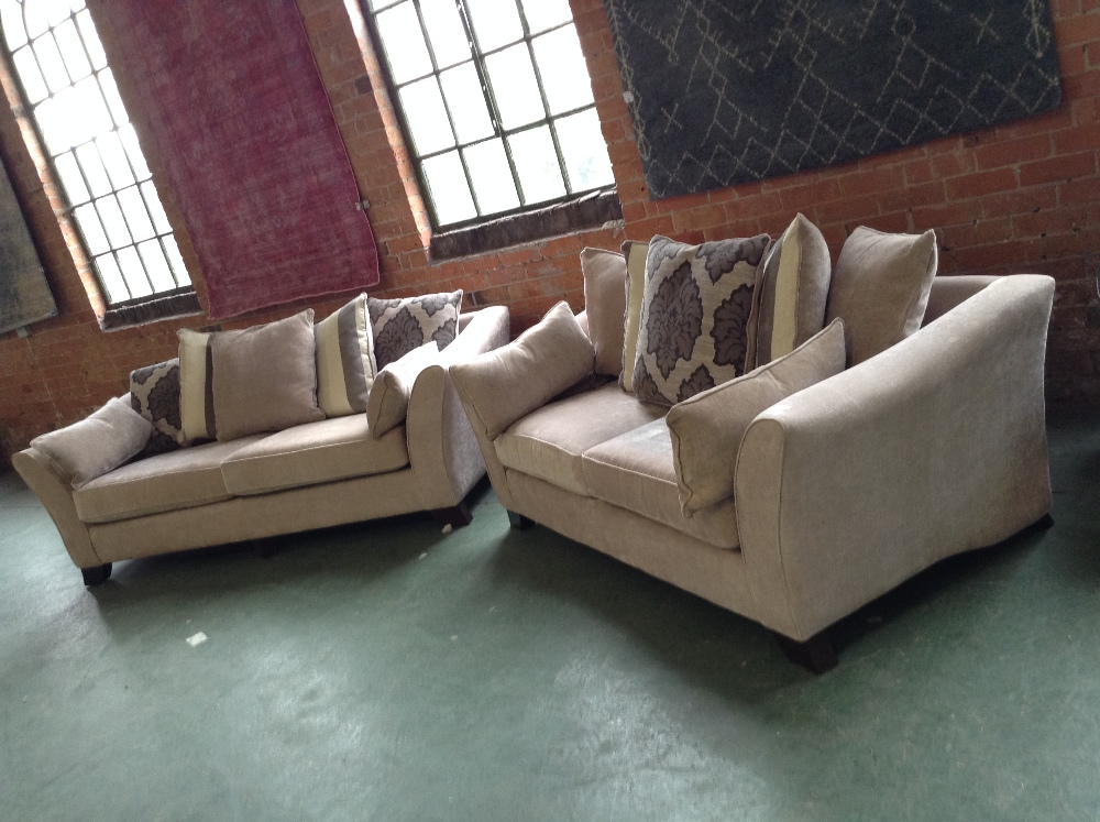 BEIGE 3 SEATER SOFA AND 2 AND AHHALF SEATER SOFA (