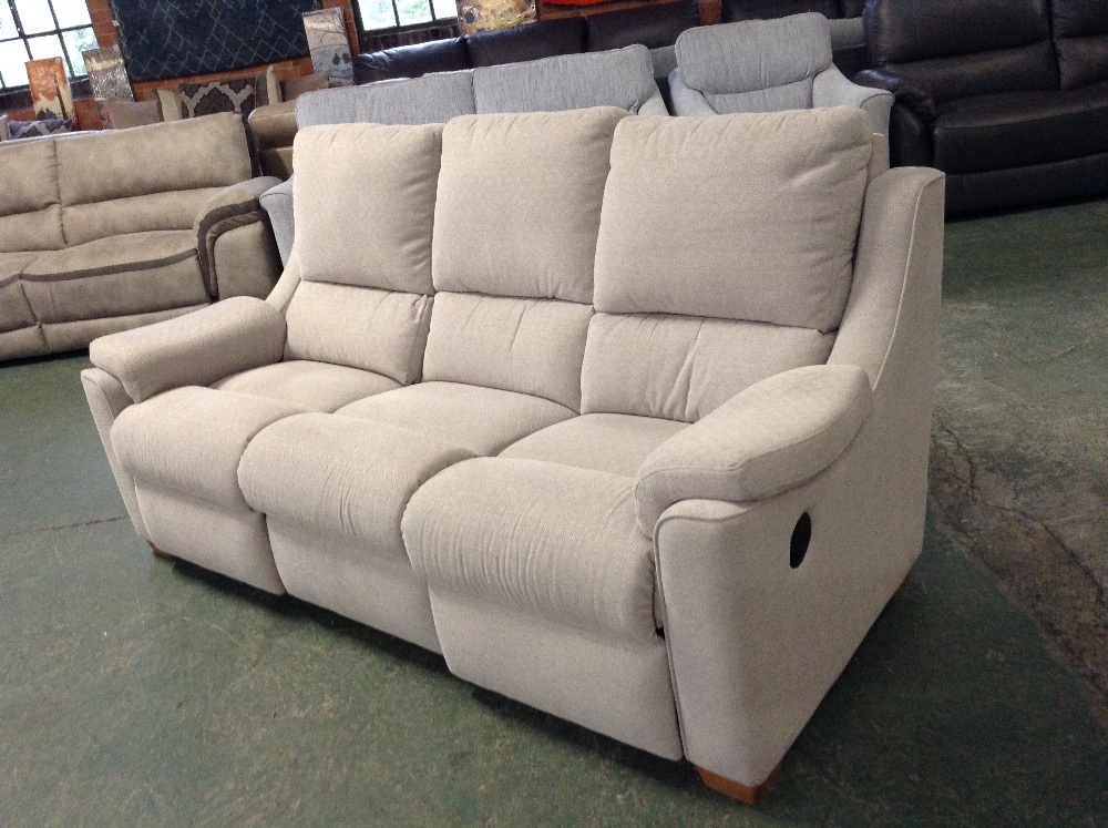 Lot 45 - GREY PATTERNED ELECTRIC RECLINING HIGH BACK 3 SEAT