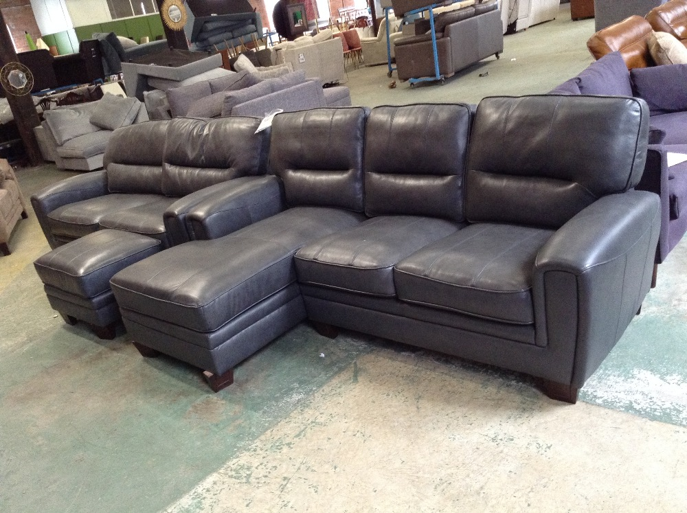 Lot 37 - GREY LEATHER 2 PART CORNER GROUP 3 SEATER SOFA AND