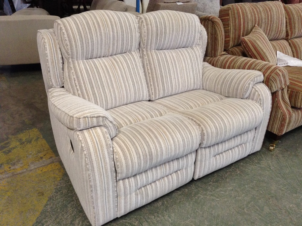 Lot 61 - MULTI COLOURED STRIPED ELECTRIC RECLINING 2 SEATER
