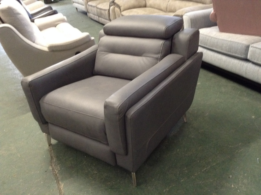 Lot 46 - GREY LEATHER ELECTRIC RECLINING CHAIR WITH ADJUSTA