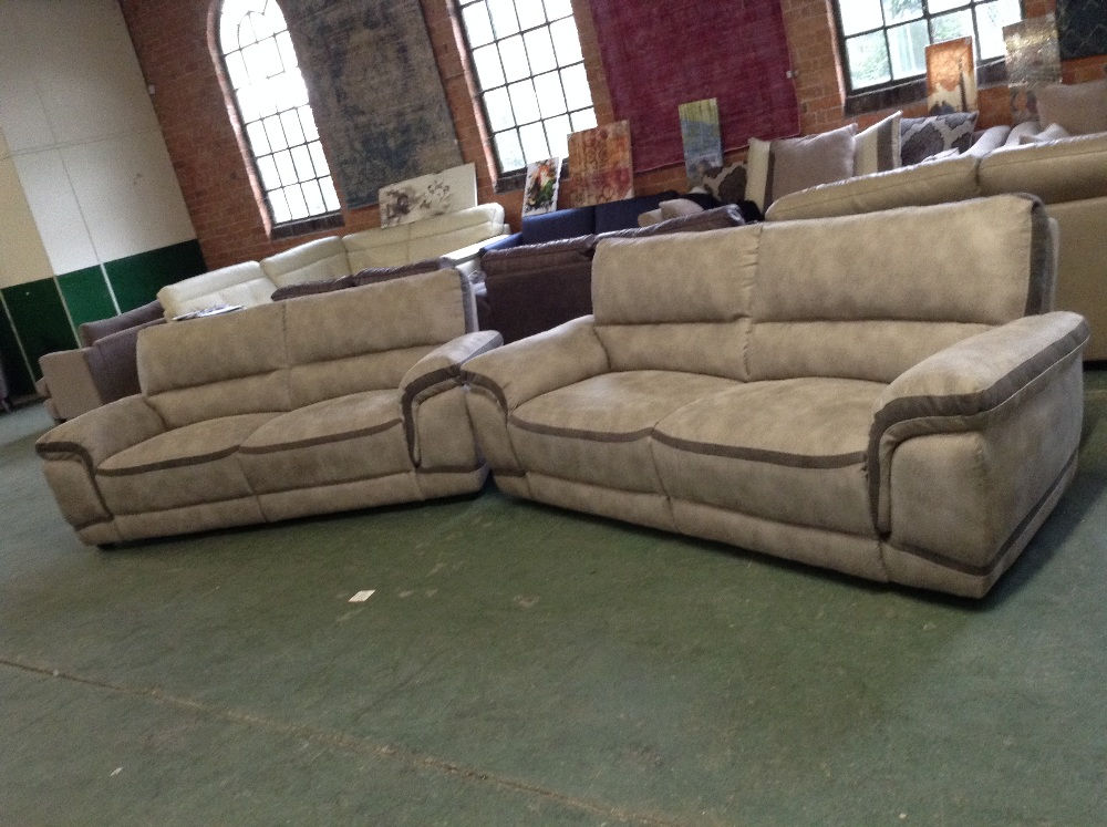 Lot 41 - BEIGE AND BROWN 2 X 3 SEATER SOFAS (TEAR ON 1 3 SE