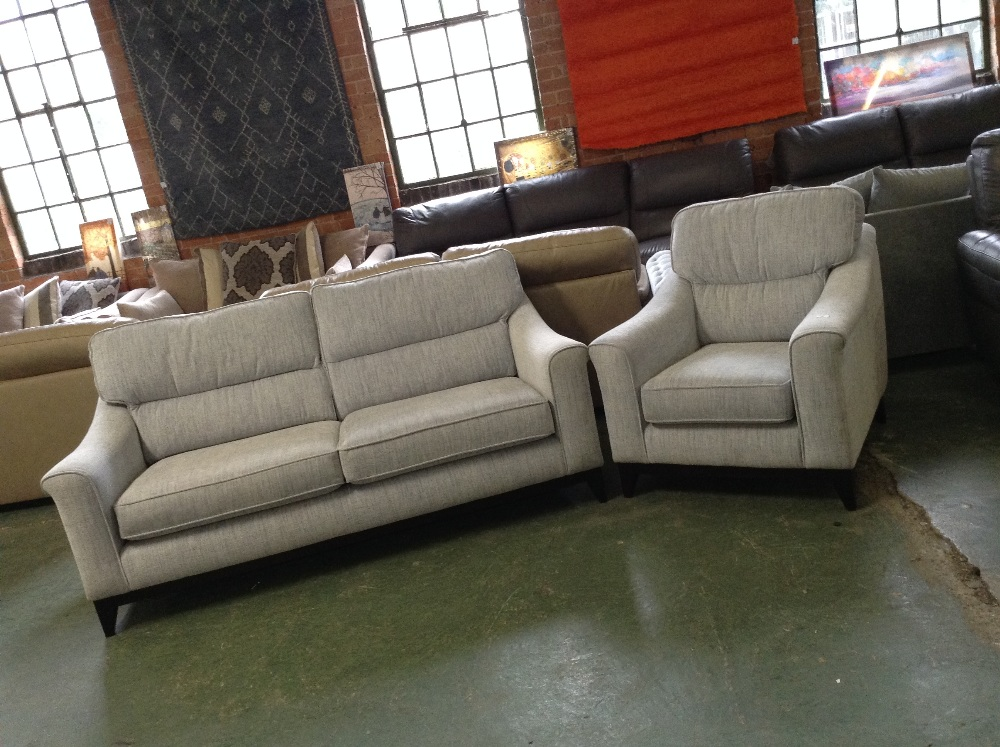 Lot 40 - DUCK EGG BLUE 3 SEATER SOFA AND CHAIR