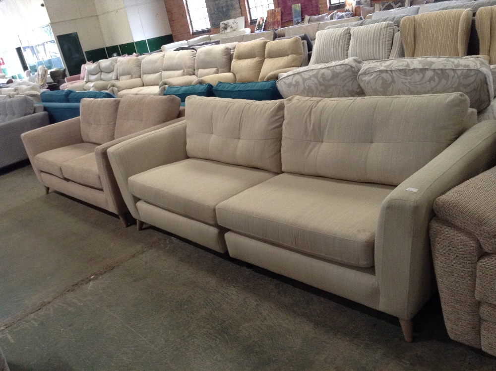 Lot 83 - HOLLY BEIGE LARGE 4 SEATER SOFA AND HOLLU BISCUIT