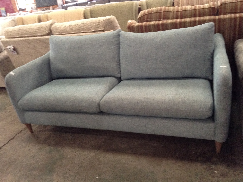 Lot 81 - GEORGIA DUCK EGG BLUE 3 SEATER SOFA (L4-470233)