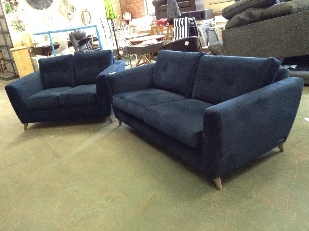 Lot 85 - HOLLY NAVY BLUE 3 SEATER SOFA AND 2 SEATER SOFA (L
